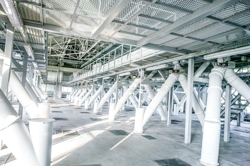 Indoor space of factory. Indoor space of modern lightfull factory, empty and brand new royalty free stock photos