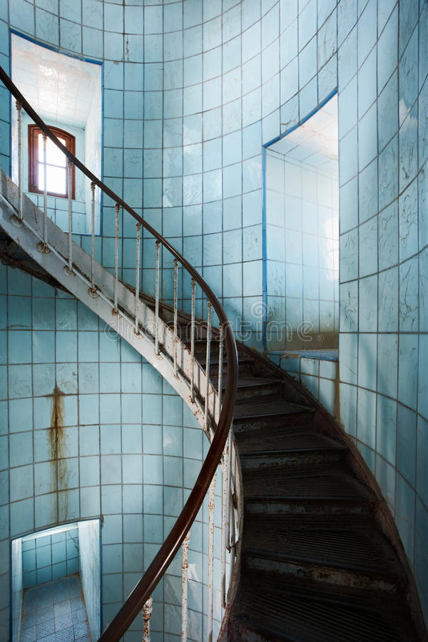 Indoor spiral staircase stock photography