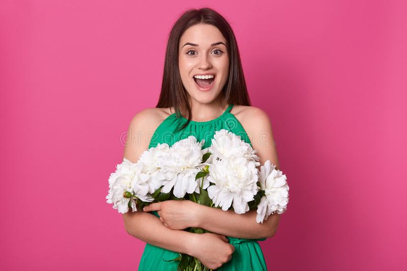 Indoor studio shot of emotional charismatic female standing isolated over pink background, looking directly at camera, holding big royalty free stock photos