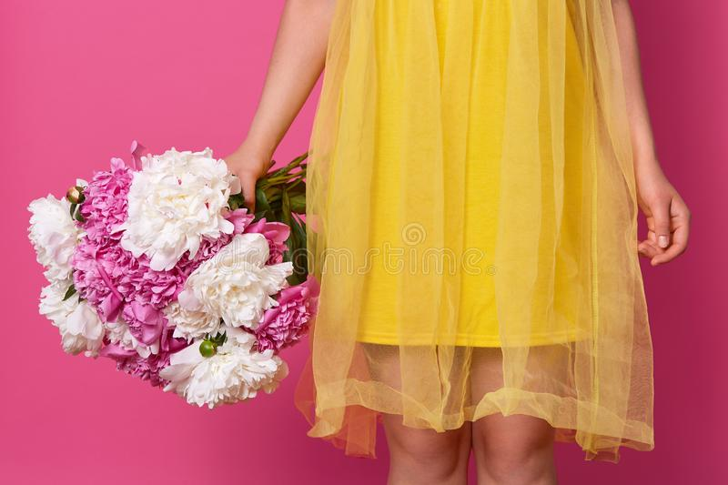 Indoor studio shot of unknown woman wearing bright yellow dress, holding big bouquet of white and pink peonies, getting present,. Isolated over pink background royalty free stock photography