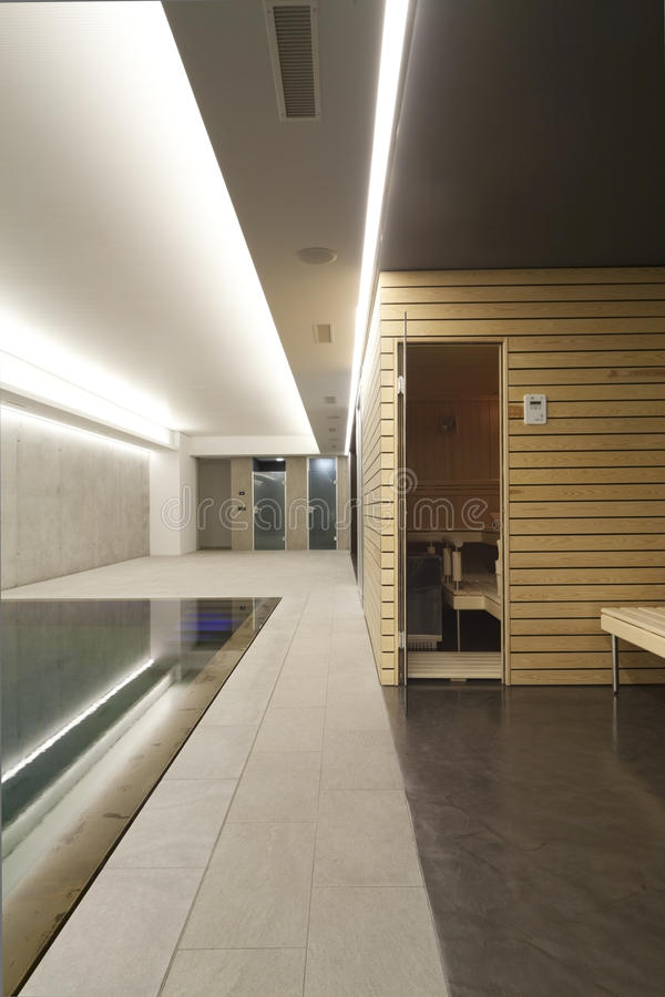 Indoor swimming pool with sauna