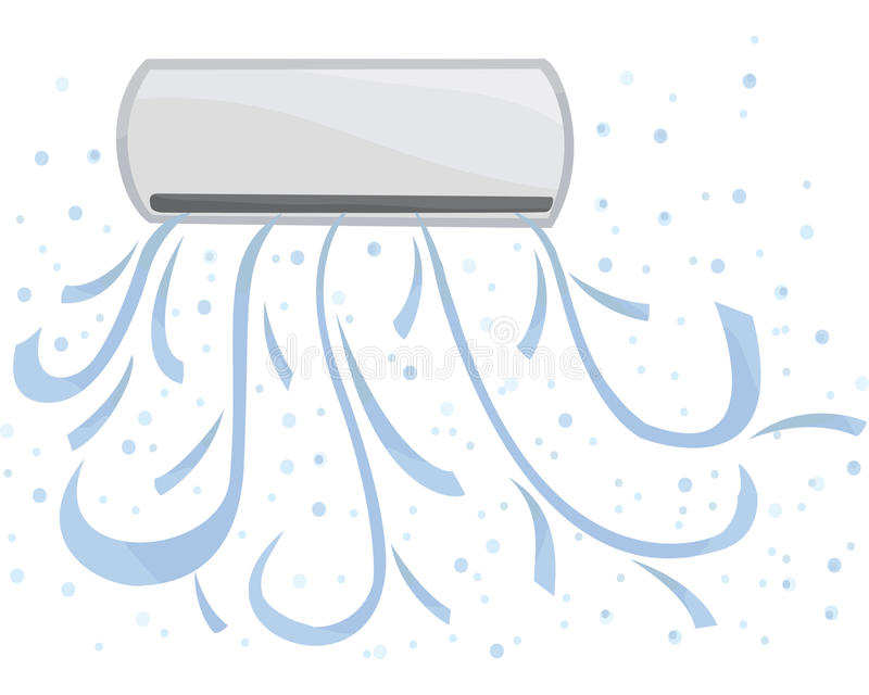 Indoor unit vector. Air conditioning is available, cold in the room. Indoor unit vector. Air conditioning is available, cold in the room stock illustration