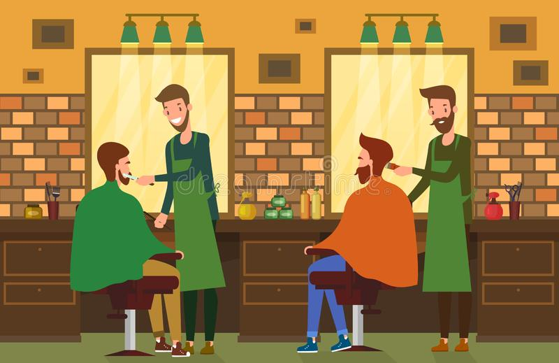 Indoor view at barbershop salon with barber. And hairdresser stock illustration