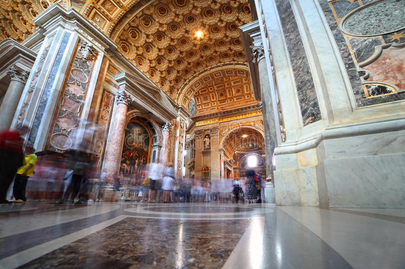 Indoor view of Basilica di San Pietro in Rome stock photography
