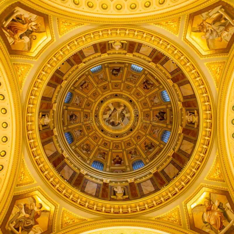Indoor view of colorful picturesque dome ceiling in Saint Stephen`s Basilica, Budapest, Hungary royalty free stock image