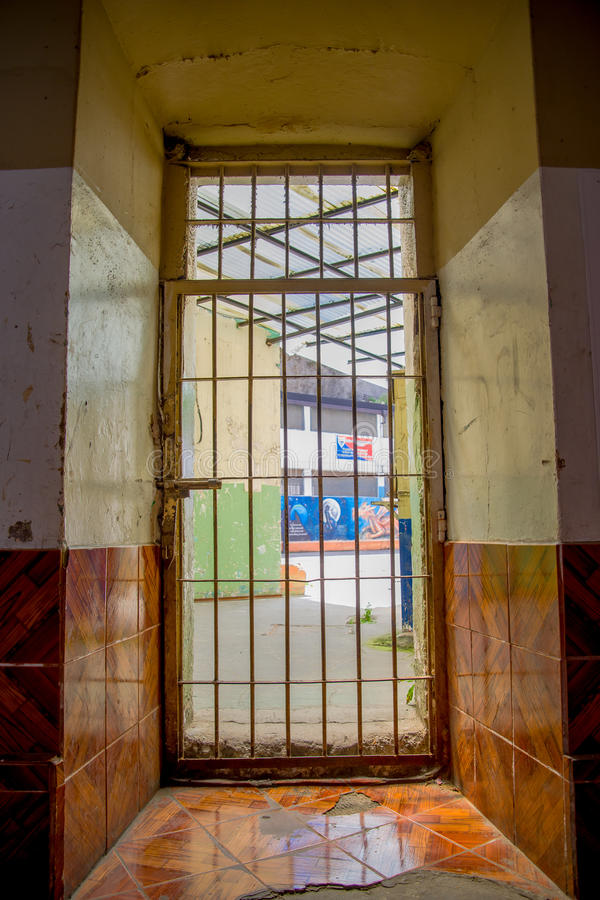 Free Indoor View With A Door With Bars, In The Old Prison Penal Garcia Moreno In The City Of Quito Stock Photo - 95262460