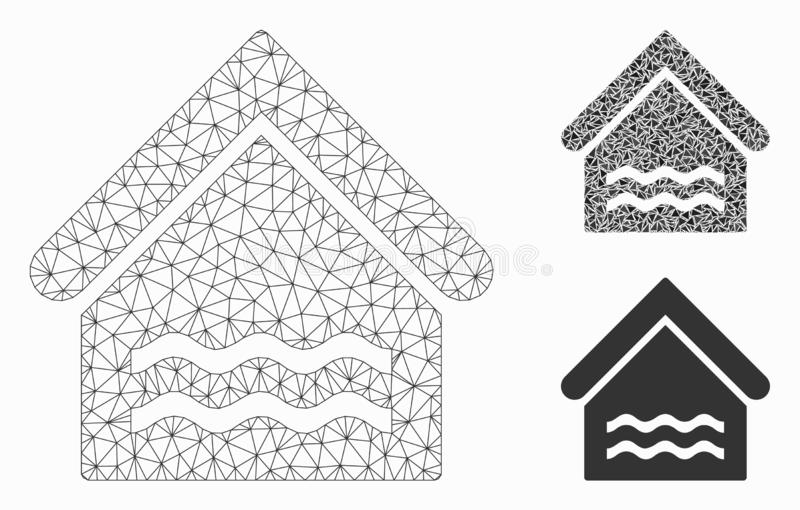 Indoor Water Pool Vector Mesh Network Model and Triangle Mosaic Icon. Mesh indoor water pool model with triangle mosaic icon. Wire carcass polygonal mesh of stock illustration