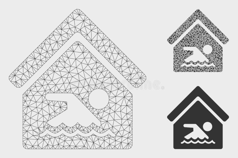 Indoor Water Pool Vector Mesh Wire Frame Model and Triangle Mosaic Icon. Mesh indoor water pool model with triangle mosaic icon. Wire frame triangular mesh of royalty free illustration