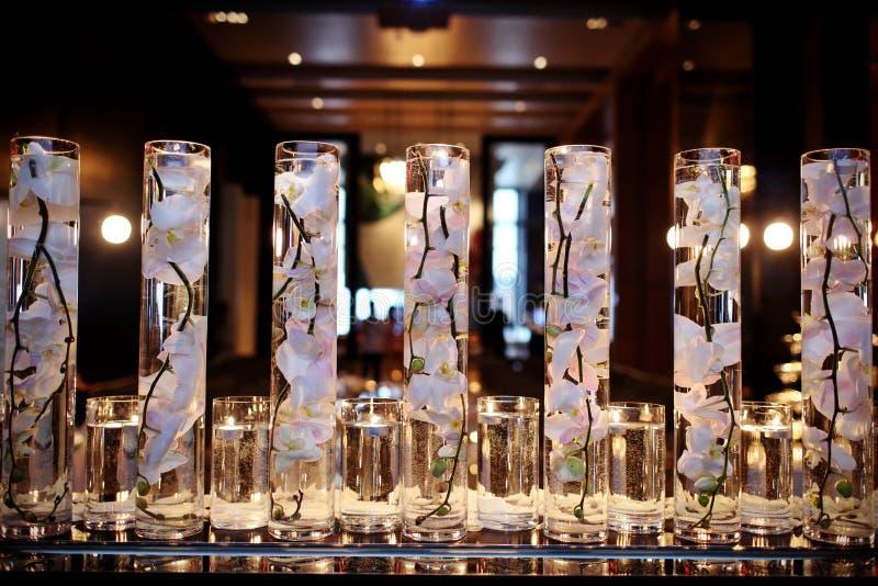 Indoor wedding Scene. Flowers at an indoor wedding stock images