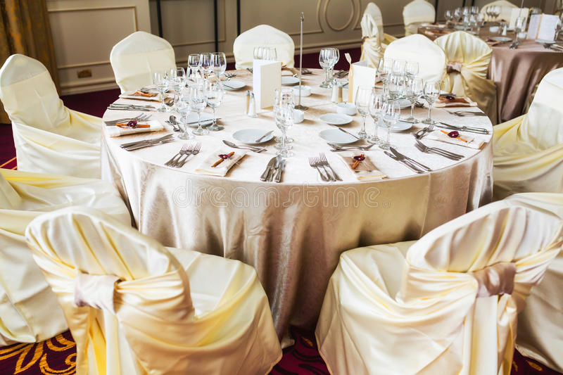 White Chairs At A Wedding Indoor Stock Photo: Indoor Wedding Table With Beige Decoration Stock Image