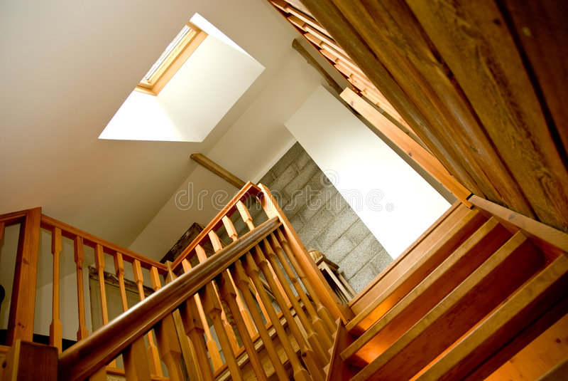 Download Indoor wooden staircase stock photo. Image of house, indoor - 3377522