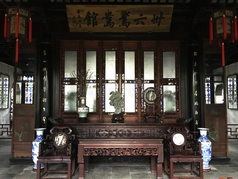 Indoors of Humble Administrator`s Garden in China`s Suzhou city. Indoors of Humble Administrator`s Garden, the largest garden in Suzhou, China. UNESCO heritage royalty free stock photography
