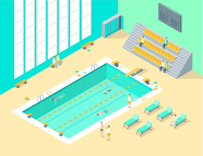 Indoors Swimming Pool Interior with People Isometric View. Vector vector illustration