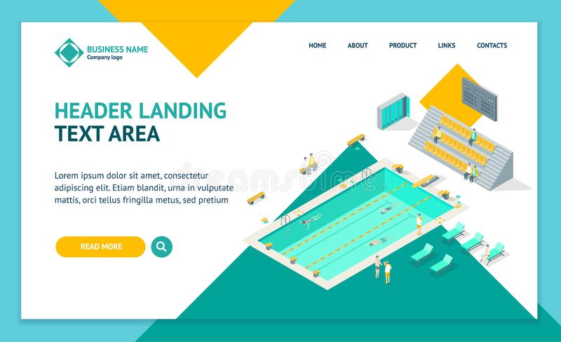 Indoors Swimming Pool Landing Web Page Template Isometric View. Vector stock illustration