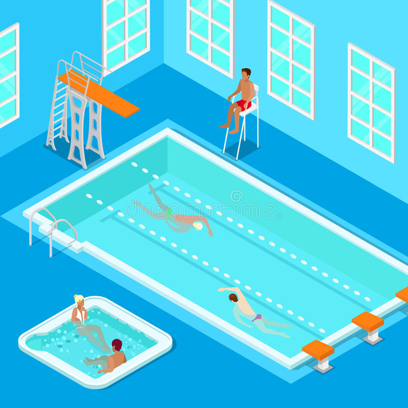 Indoors Swimming Pool with Swimmers, Lifesaver and Jacuzzi. Isometric People. stock illustration