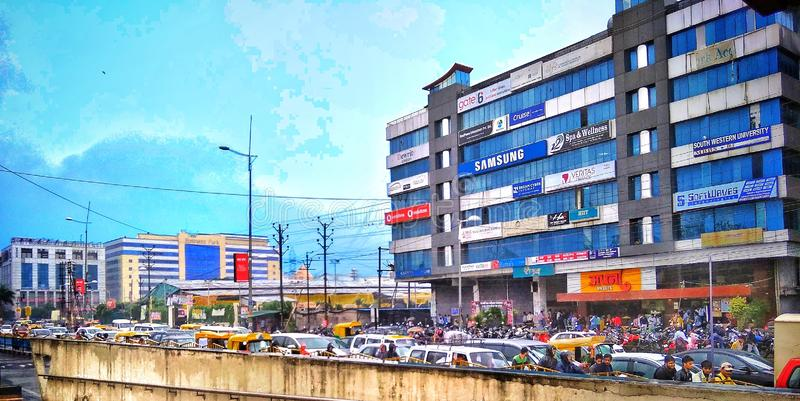 Indore india. Business center in city Indore, India stock image