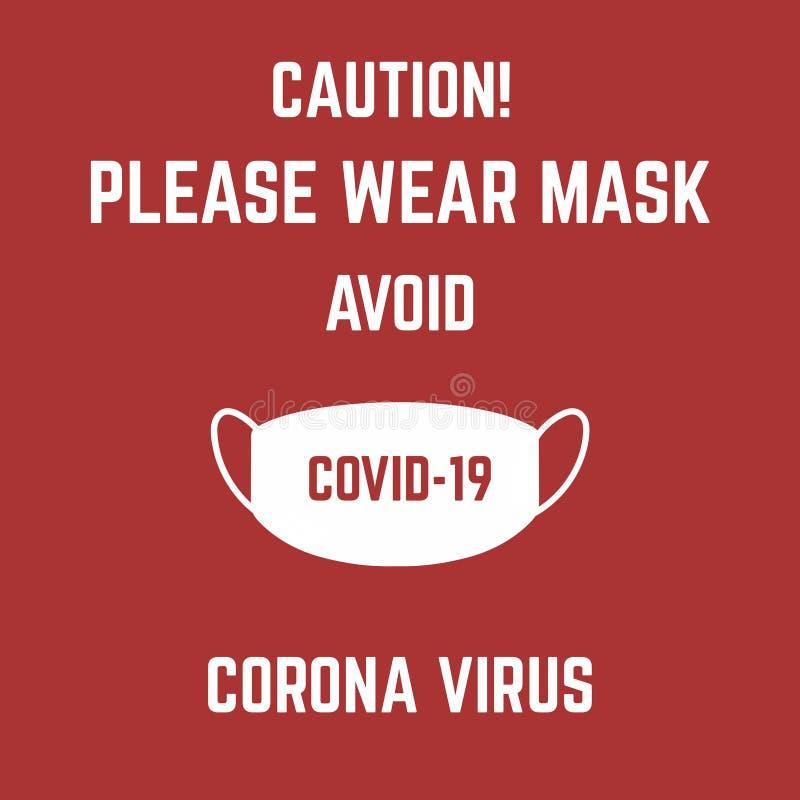 Indossare una maschera per evitare l'illustrazione del virus corona covid-19 su fondo rosso fotografia stock libera da diritti