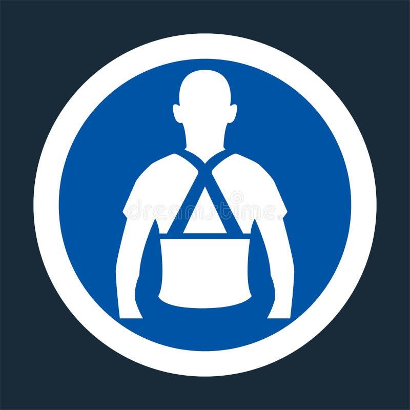 Indossi il segno posteriore di simbolo di sostegno su fondo nero, llustration di vettore royalty illustrazione gratis