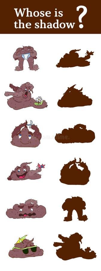 Indovini il gioco dell'ombra per i bambini con i caratteri divertenti royalty illustrazione gratis