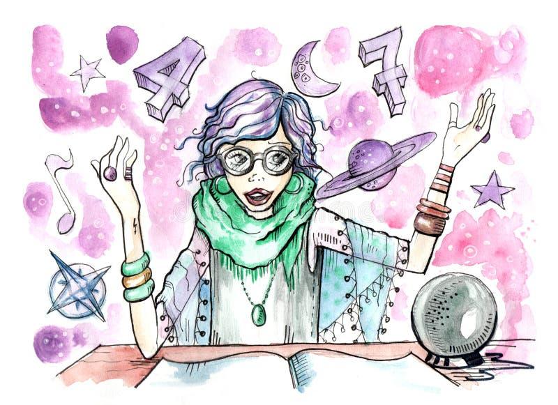 Indovino femminile con sfera di cristallo ed i simboli di magia tutt'intorno lei illustrazione vettoriale