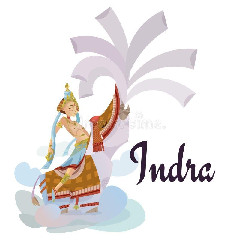 INDRA que se sienta en la invitación hindú de dioses del elefante carda el ejemplo del vector del día de fiesta de Dawali ilustración del vector