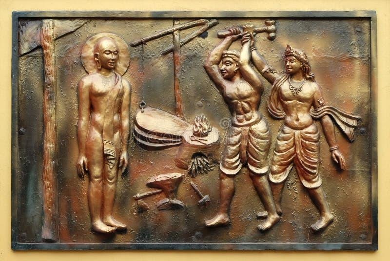 INDRA verhindert een onwetende cowherd aan te vallen Bhagavan Mahavira stock afbeeldingen