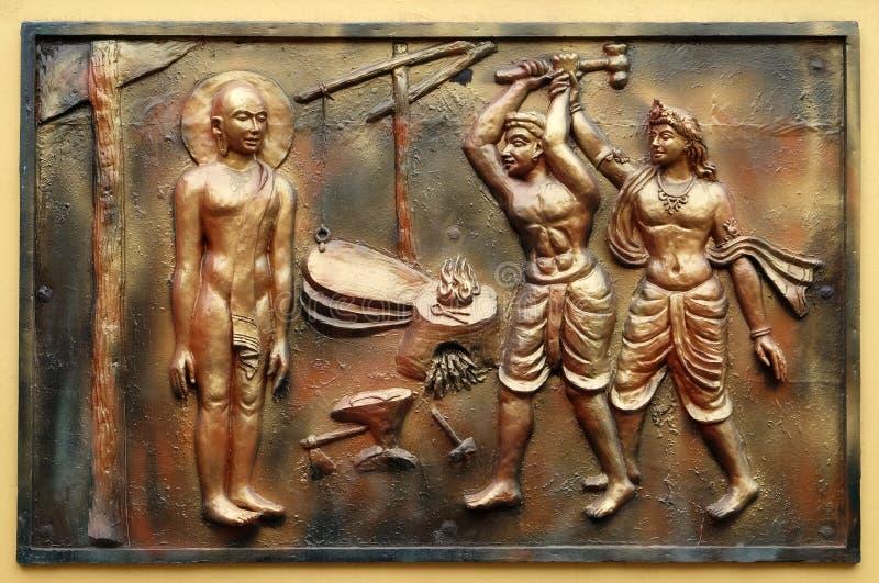 INDRA verhindert een onwetende cowherd aan te vallen Bhagavan Mahavira royalty-vrije stock foto's