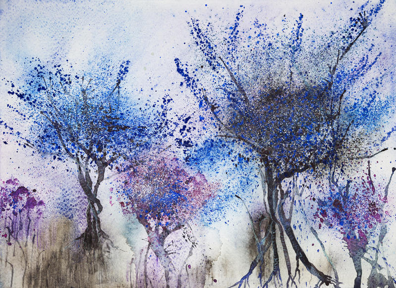 Indruk van bomen met een blauwachtig gebladerte stock illustratie