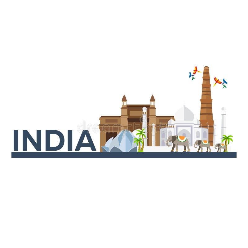 indu Indiańska architektura Turystyka Podróżny ilustracyjny India Nowożytny płaski projekt Taj mahal, Lotosowa świątynia, brama I royalty ilustracja