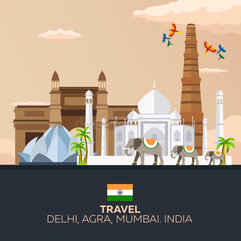 indu Turystyka Podróżny ilustracyjny indianin Indiański słoń taj mahal ilustracja wektor