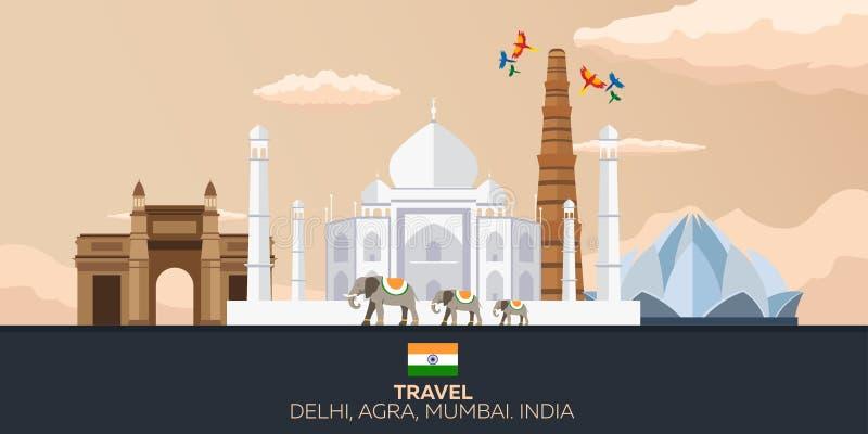 indu Turystyka Podróżny ilustracyjny indianin Indiański słoń taj mahal ilustracji