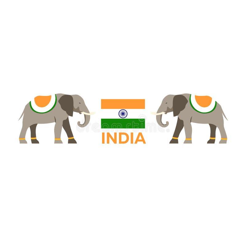 indu Turystyka Podróżny ilustracyjny indianin Nowożytny płaski projekt Indiański słoń ilustracja wektor