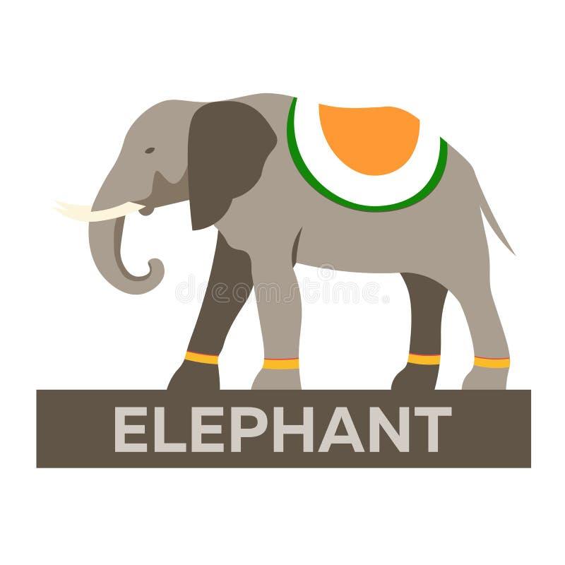 indu Turystyka Podróżny ilustracyjny indianin Nowożytny płaski projekt Indiański słoń royalty ilustracja