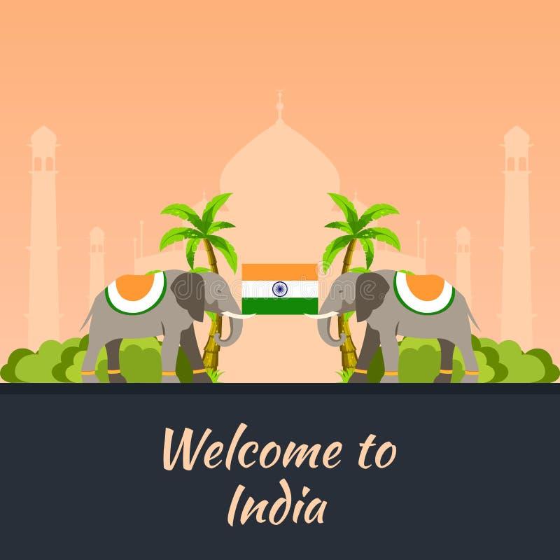 indu Turystyka Podróżny ilustracyjny indianin Nowożytny płaski projekt Indiański słoń Taj mahal, Lotosowa świątynia, brama India, ilustracji