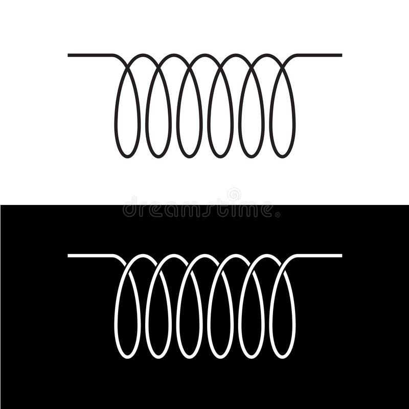 Induction spiral electrical symbol. Black linear coil. stock illustration