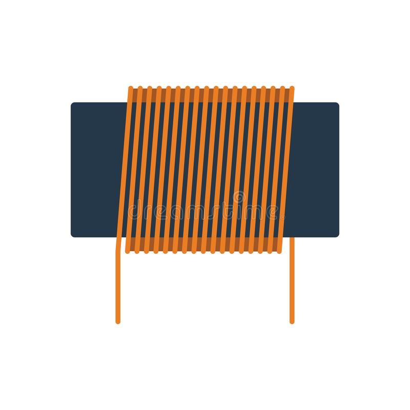 Inductor coil icon. Flat color design. Vector illustration royalty free illustration