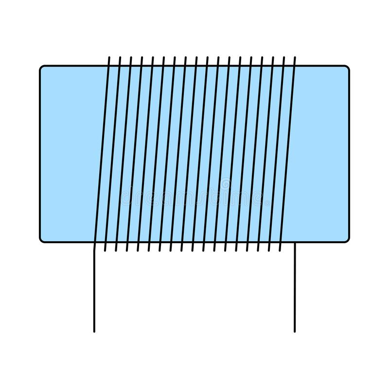 Inductor Coil Icon. Thin Line With Blue Fill Design. Vector Illustration royalty free illustration