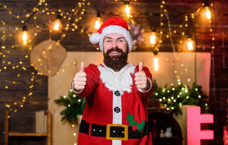 Indulge yourself in joy. Celebration time. Man bearded santa celebrate christmas at home. Winter carnival. Santa claus royalty free stock photos