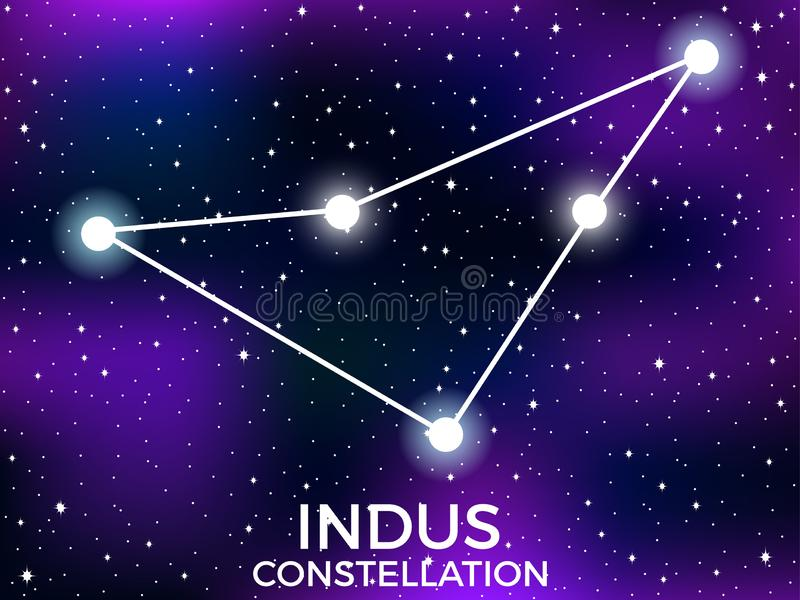 Indus constellation. Starry night sky. Cluster of stars and galaxies. Deep space. Vector. Illustration stock illustration