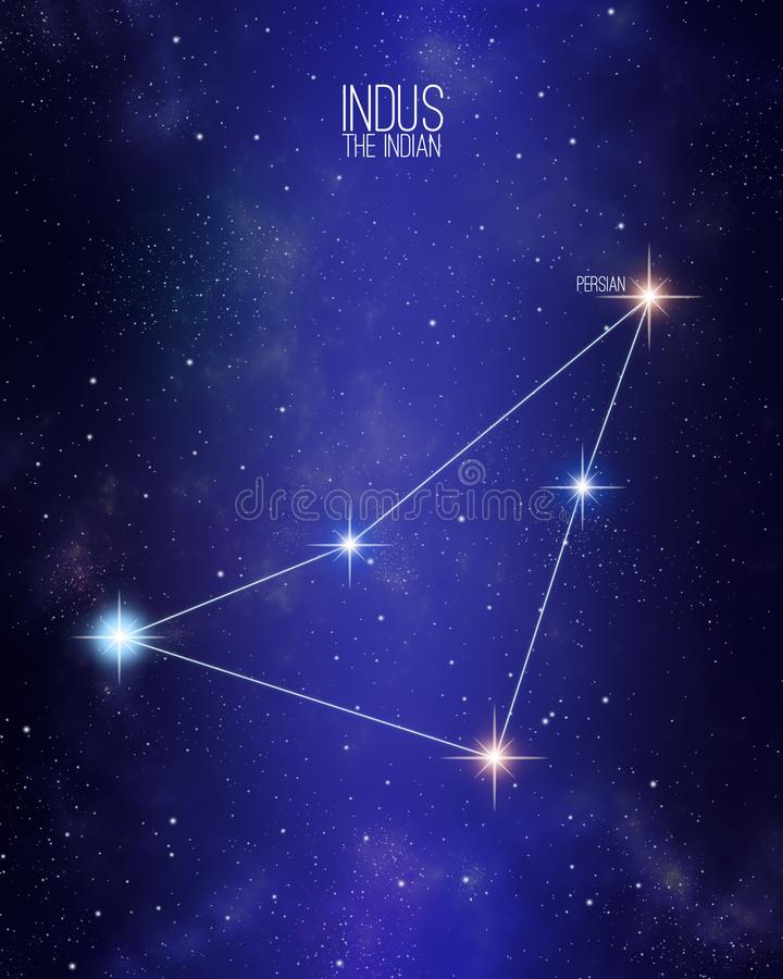 Indus the indian constellation map on a starry space background. Stars relative sizes and color shades based on their spectral royalty free illustration