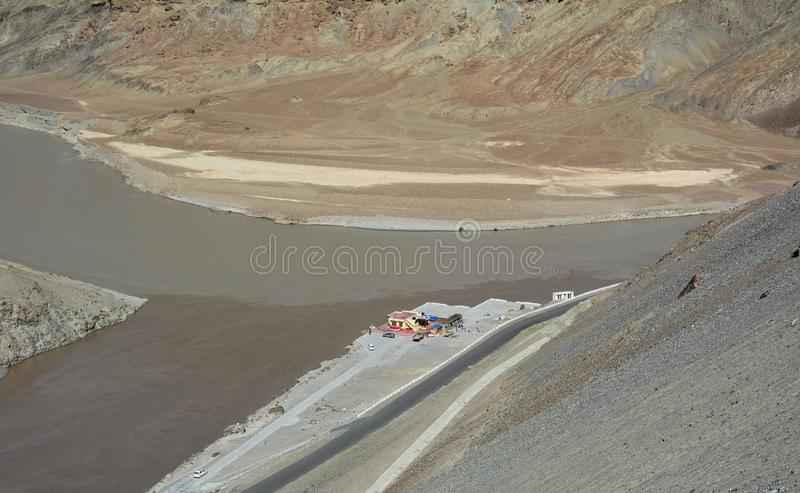 Indus and Zanskar River. Confluence of Indus and Zanskar River in Himalayas of Ladakh, India stock photos