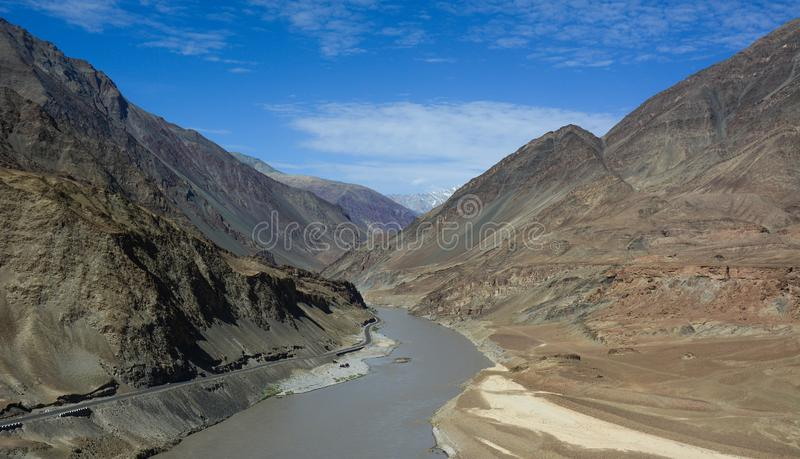 Indus and Zanskar River. Confluence of Indus and Zanskar River in Himalayas of Ladakh, India stock photography