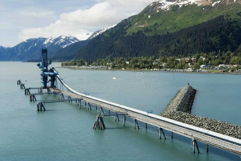 Industiral Pipe at the port of Seward delivering oil from Trans-Alaska Oil System stock images