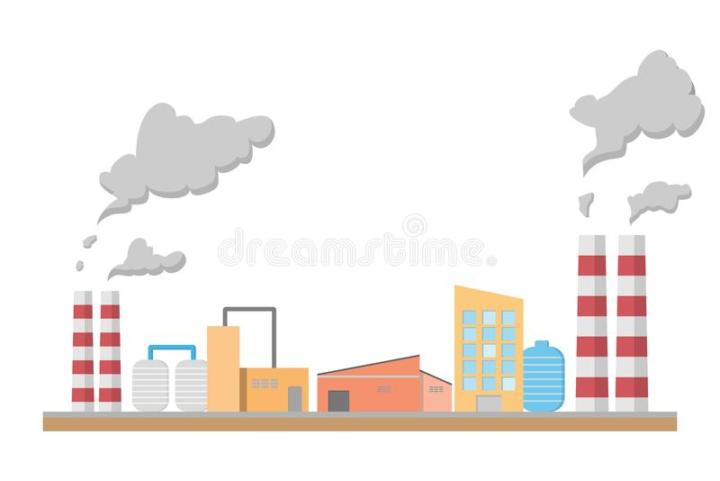 Industrail factory, manufacturing building flat style, vector royalty free illustration