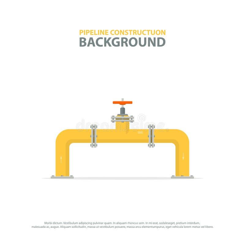 Industriële achtergrond met gele pijpleiding en klep Olie, water of aardgasleidingen vector illustratie