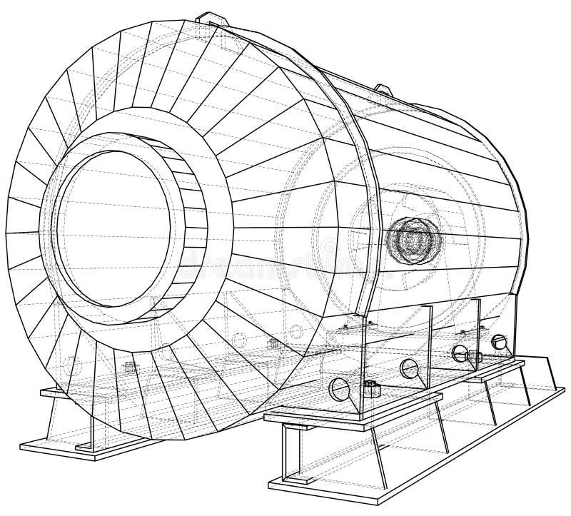 Industriële Apparatuur Draad-kader Het vector teruggeven van 3d Het vector teruggeven van 3d stock illustratie