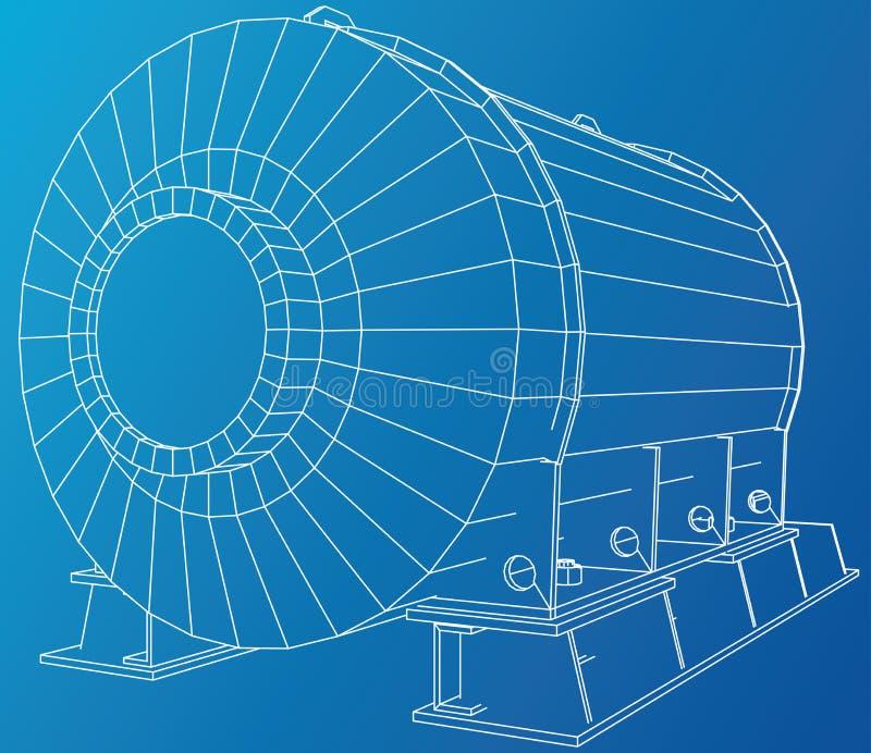 Industriële Apparatuur Draad-kader Het vector teruggeven van 3d Het vector teruggeven van 3d vector illustratie