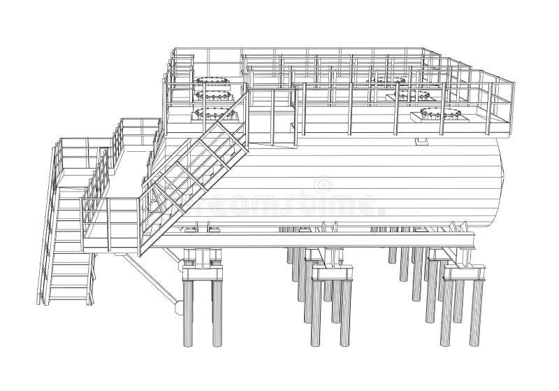 Industriële Apparatuur Draad-kader stijl vector illustratie