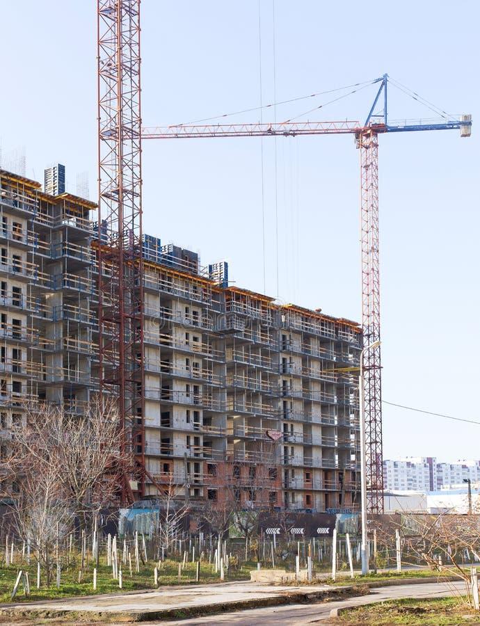 Industriële bouw kranen en de bouw stock afbeelding