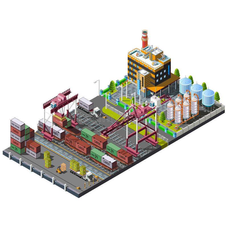 Industriële bouwkranen stock illustratie